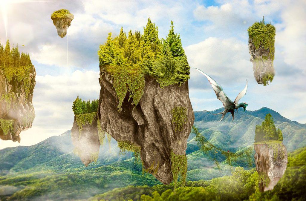 Illustration of floating islands